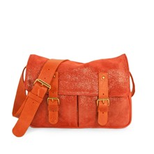 Vincennes 2 - C-Oui / Sac besace postier musette taille moyenne made in France en cuir - irisé corail