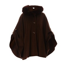 Loulou - Cape en laine finition fourrure de renard - marron