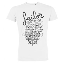 Sailor - T-shirt imprimé bio - blanc