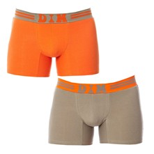 Soft Touch Pop - Pack de 2 boxers - Gris perle/Orange pop