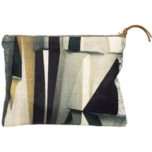 Get Up Coal - Trousse en cuir et lin imprimé design - multicolore