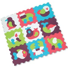 Tapis - 9 dalles mousse animaux - multicolore