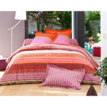 Drap plat orange et fuschia - fuchsia