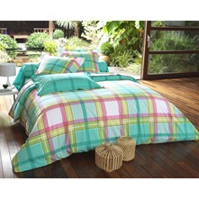 Housse de couette style madras - turquoise