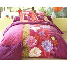 Housse de couette prune style chine - rose