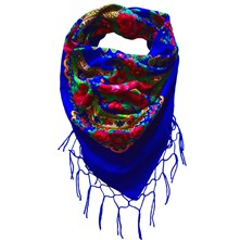 Grand Foulard Folk - Bleu roi
