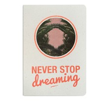 Never stop dreaming - Carnet paillettes et visuel - orange