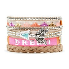 Pink Dream - Bracelet manchette, multi-rangs - multicolore