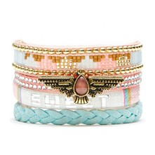 Salmon sweet - Bracelet manchette, multi-rangs - rose