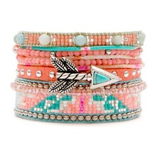 Reef - Bracelet manchette, multi-rangs - rose