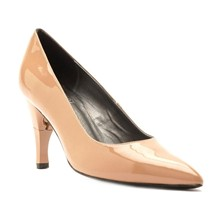 Bella - Escarpins cuir vernis talon pliable et rétractable - beige