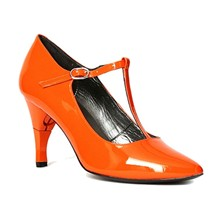 Dodimoel - Chaussures femme salomé en cuir vernis à talon retractable - orange