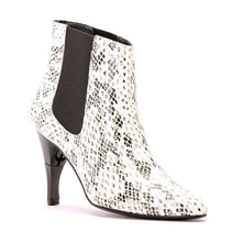 Heart Boa - Bottines femme en cuir imprimé boa à talon rétractable - blanc