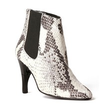 Heart Python - Bottines femme en cuir python a talon retractable - Beige clair