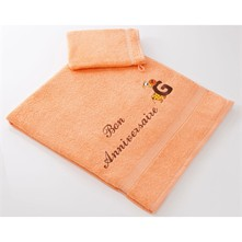 Ensemble drap de bain, serviette de toilette et gant enfant 400 g/m² - orange