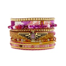 Indiana - Bracelet manchette, multi-rangs - rose