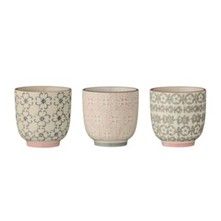 Cécile - Lot de 3 tasses 7x7cm - multicolore