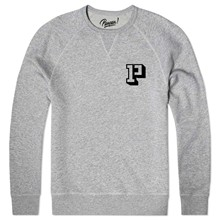 Sweat shirt coton bio ecusson p - gris chine