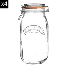 Lot de 4 bocaux de 1,5 L - transparent