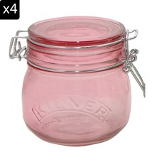 Lot de 4 bocaux 500 ml - rose
