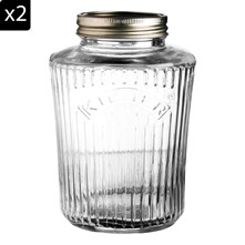 Lot de 2 bocaux 1 L - transparent