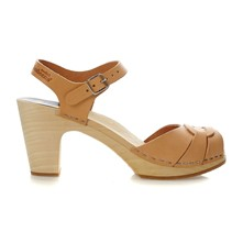 Peep toe Super High nature - Sandales en cuir et bois