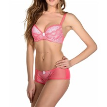 Zylla - Ensemble soutien-gorge push-up et shorty - corail