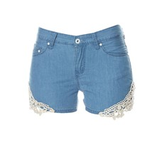 Mini short en coton - bleu