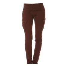Pantalon cargo coupe carrot - bordeaux