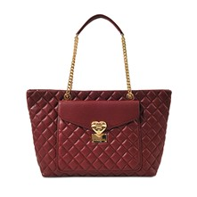 Heart Quilted - Sac cabas en cuir - rouge