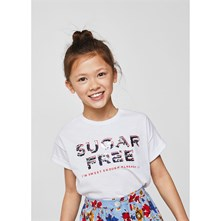 T-SHIRT SEQUINS RÉVERSIBLES - BLANC Mango Kids