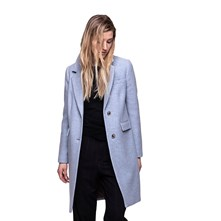 MANTEAU LONG 70% LAINE - BLEU CIEL Trench and coat