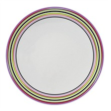 Hulahoop blanc - Lot de 3 assiettes plates - multicolore