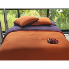 Complicité Gourmande prune et orange - Housse de couette percale prune et orange - bicolore