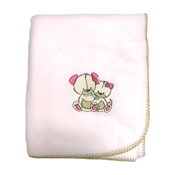 Ourson - Couverture polaire - rose