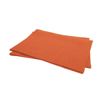 Blanc Cerise - Délices de Lin - Lot de 2 sets de table - orange - 1248532