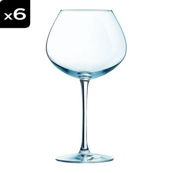 Wine Emotion - Lot 6 verres pied 35cl - transparent