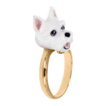 Chien scottish - Bague ajustable - blanc