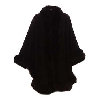 Baya - Monika - Cape finition fourrure de renard - noir - 1487879