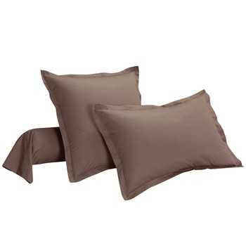 Ifilhome - Uni - Taie d'oreiller percale pur coton - taupe