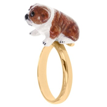 Bulldog Anglais assis - Bague ajustable - bicolore