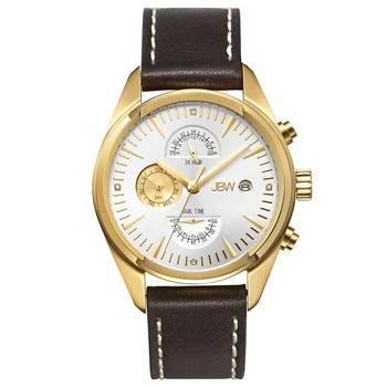 JBW - The Woodall - Reloj de cuero con diamantes - bicolor