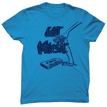 Monsieur Poulet - Eat Music - T-shirt - bleu - 1565178