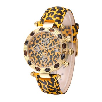 Diamstars - Exotic - Orologio di pelle con diamanti - giallo
