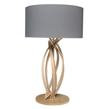 Limelo design - Julia - Lampe de table design en bois et abat jour - Gris anthracite