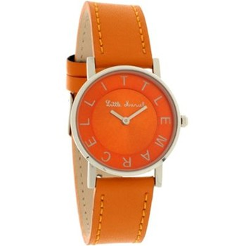 Little Marcel - Montre bracelet en acier et cuir - orange