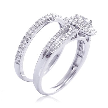 Carré Passion - Bague en or blanc ornée de diamants - argenté