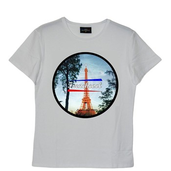 Frenchcool - Paris - T-shirt en coton col rond - blanc - 1686758