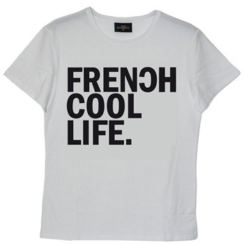 Frenchcool - Life - T-shirt en coton col rond - blanc - 1686969