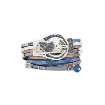 Poapo - Williams - Bracelet en cuir - bleu